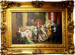 Casa Padrino Barock Stil Öl Gemälde Gesellschaft Gold Prunk Rahmen 130 x H. 100 cm - Barockmöbel