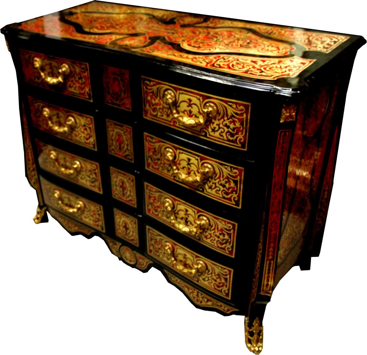 casa padrino commode baroque boulle noir or rouge 112 cm buffet meuble de rangement