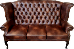 Casa Padrino Luxury Genuine Leather 3 seater Sofa Dark Brown Vintage Antique Look 183 x 90 x H. 105 cm - Chesterfield Sofa