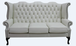 Casa Padrino Luxury Genuine Leather 3 seater sofa white vintage antique look 183 x 90 x h. 105 cm - Chesterfield sofa