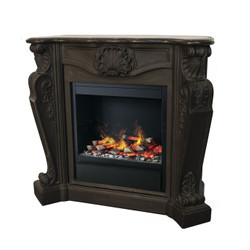 Casa Padrino luxury Art Nouveau fireplace black with LED steam fireplace insert 118 x 43 x H. 111 cm - Luxury electric fireplace with steam function