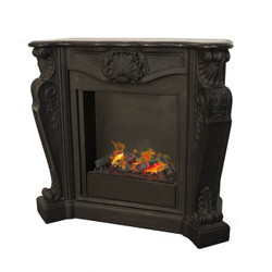 Casa Padrino luxury Art Nouveau fireplace black with steam fireplace insert 118 x 43 x H. 111 cm - Luxury electric fireplace with steam function - Baroque