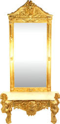 Large Casa Padrino Baroque Mirror Console Gold with Marble Top Grimace 140 x 50 x H250 cm - Mirror Console - Eyecatcher
