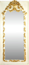 Casa Padrino Baroque wall mirror cream / gold antique style 85 x H. 190 cm - Magnificent Baroque mirror with beautiful decorations