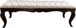 Casa Padrino Luxury Baroque Dining Bench in Light Cream / Brown 140 cm - Hotel Baroque Bench - Luxury Quality