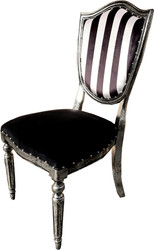 Casa Padrino Art Deco Luxury Dining Chair Black White Stripes / Antique Style Silver - Luxury Hotel Furniture