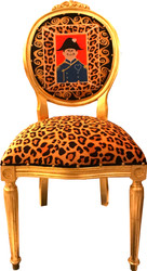 Casa Padrino Baroque Medallion Luxury Dining Chair Leopard / Gold Napoleon - Luxs Collection