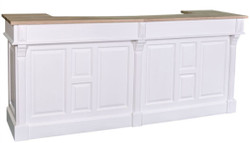 Casa Padrino country style bar counter white / natural 240 x 65 x H. 107 cm - Solid Wood Bar Counter with 2 Drawers - Country Style Furniture