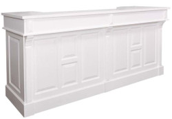 Casa Padrino country style bar counter white 240 x 65 x H. 107 cm - Solid Wood Bar Counter with 2 Drawers - Country Style Furniture