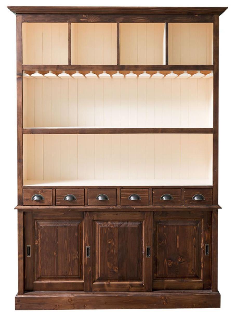 Casa Padrino Landhausstil Barschrank Braun Weiß 150 X 35 X