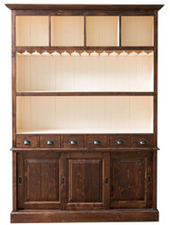 Casa Padrino Country Style Bar Cabinet Brown / White 150 x 35 x H. 210 cm - Solid Wood Cabinet - Country Style Bar Furniture