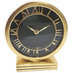 Casa Padrino Art Nouveau Table Clock Antique Brass H. 15 cm - Desk Clock - Living Room Office Decoration Accessories