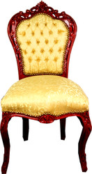 Casa Padrino Baroque Dining Chair Gold Pattern / Mahogany Brown - Baroque Antique Style Furniture
