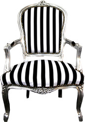 Casa Padrino Baroque Salon Chair Black / White Stripes / Silver - Furniture Striped