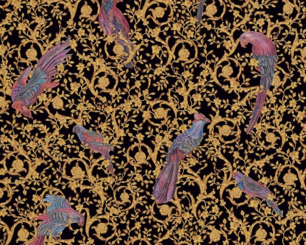 Versace Designer Barock Vliestapete IV 37053-1 - Schwarz / Gold / Blau / Violett - Design Tapete - Hochwertige Qualität 1