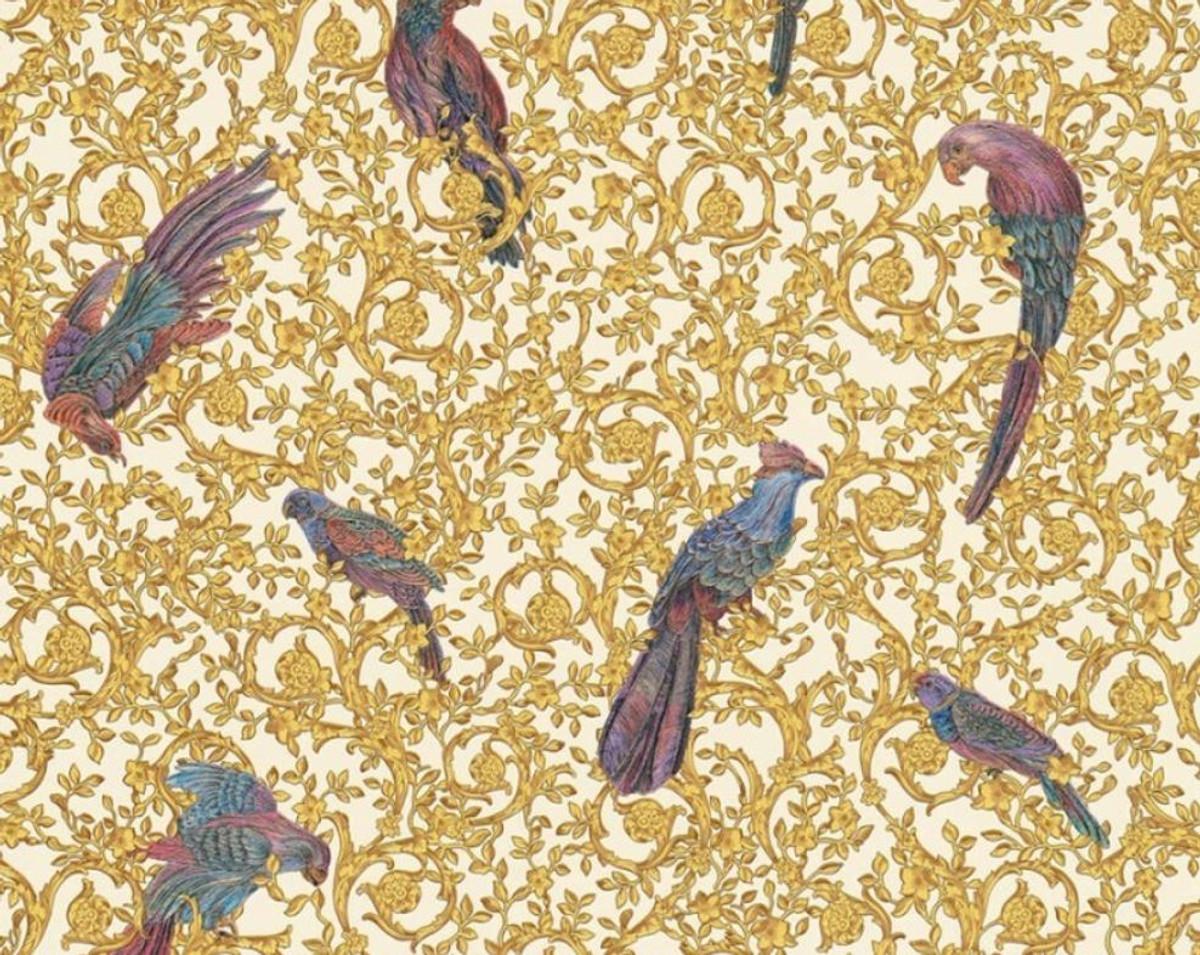 Versace Designer Barock Vliestapete IV 37053-2 - Weiß / Gold / Blau / Violett - Design Tapete - Hochwertige Qualität 1