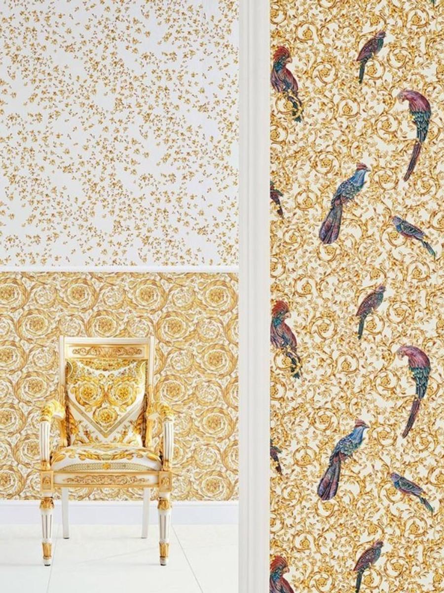Versace Designer Barock Vliestapete IV 37053-2 - Weiß / Gold / Blau / Violett - Design Tapete - Hochwertige Qualität 2