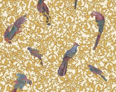 Versace Designer Barock Vliestapete IV 37053-2 - Weiß / Gold / Blau / Violett - Design Tapete - Hochwertige Qualität