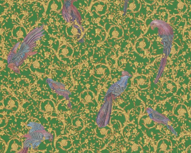 Versace Designer Barock Vliestapete IV 37053-3 - Grün / Gold / Blau / Violett - Design Tapete - Hochwertige Qualität