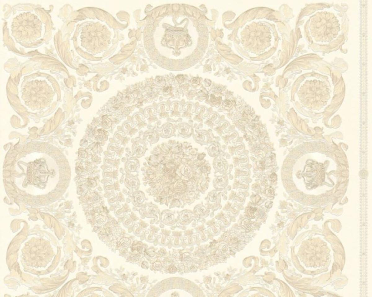 Versace Designer Barock Vliestapete IV 37055-1 - Creme / Beige - Design Tapete - Hochwertige Qualität 1