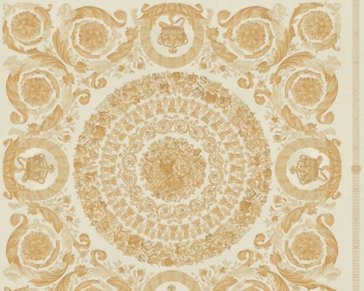 Versace Designer Barock Vliestapete IV 37055-2 - Weiß / Gold - Design Tapete - Hochwertige Qualität 1