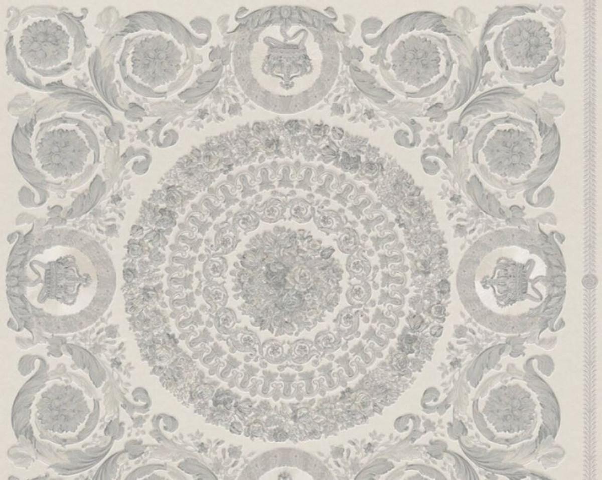 Versace Designer Barock Vliestapete IV 37055-5 - Grau / Silber - Design Tapete - Hochwertige Qualität 1