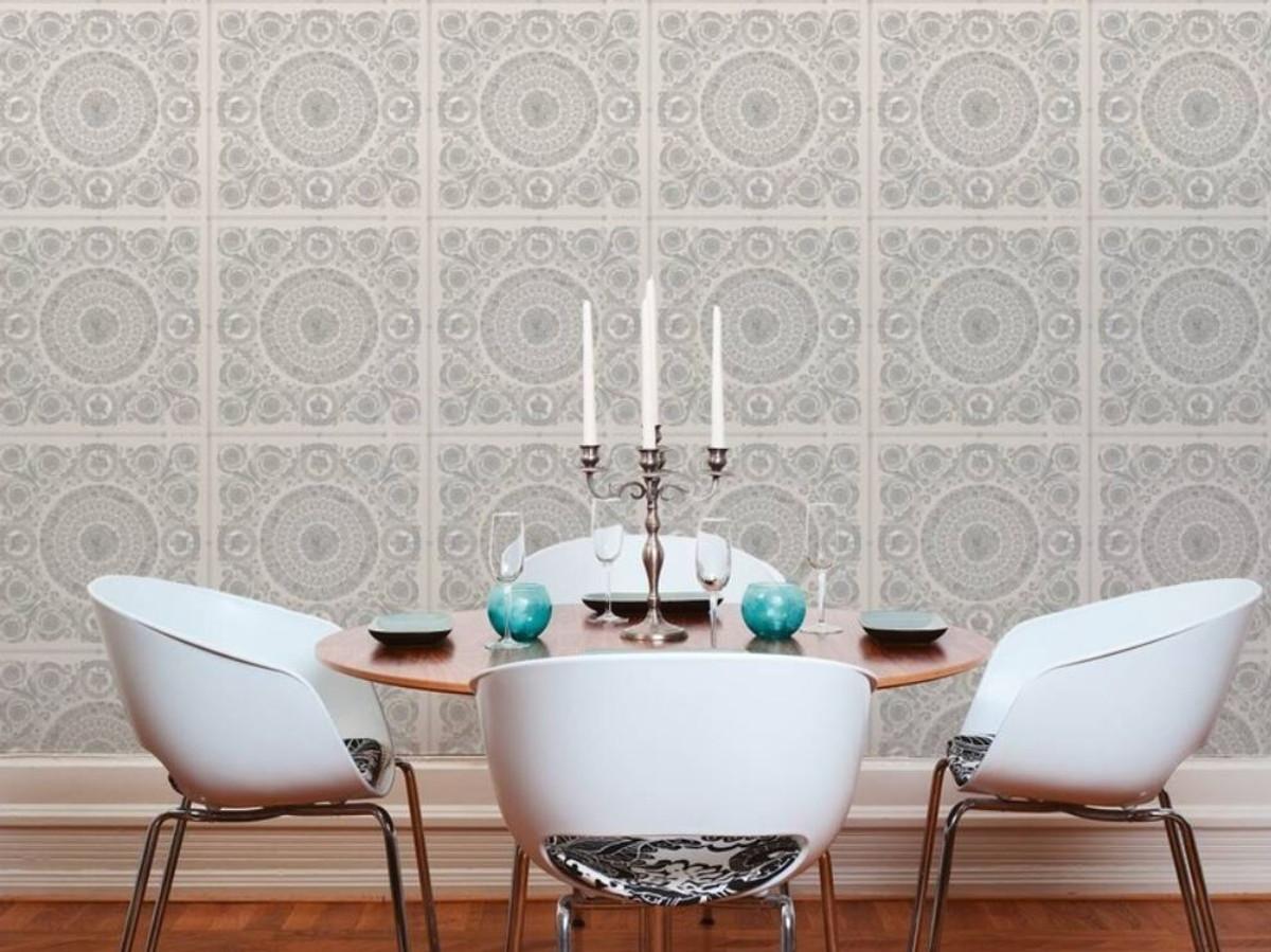 Versace Designer Barock Vliestapete IV 37055-5 - Grau / Silber - Design Tapete - Hochwertige Qualität 2