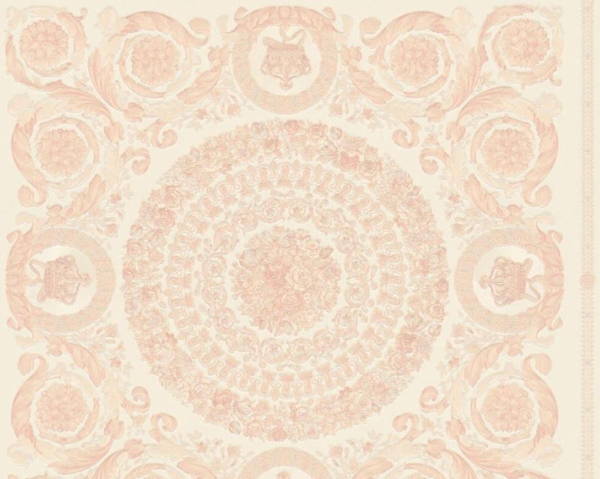 Versace Designer Barock Vliestapete IV 37055-6 - Creme / Rosa - Design Tapete - Hochwertige Qualität 1