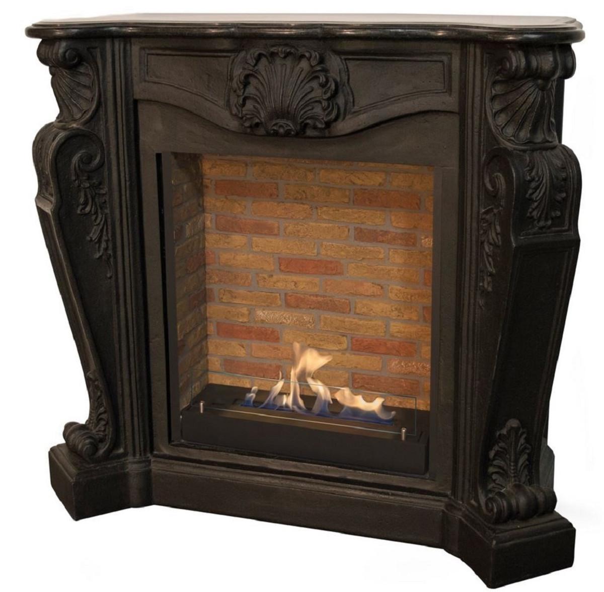 Casa Padrino Jugendstil Kamin mit Biobrenner Schwarz 127,5 x 48,5 x H. 111 cm - Prunkvoller Bioethanolkamin mit edlen Verzierungen und Steindekor - Luxus Qualität 1