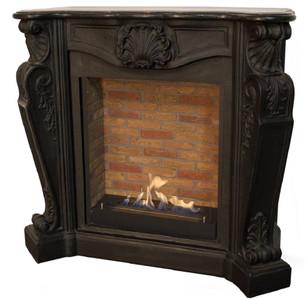 Casa Padrino Jugendstil Kamin mit Biobrenner Schwarz 127,5 x 48,5 x H. 111 cm - Prunkvoller Bioethanolkamin mit edlen Verzierungen und Steindekor - Luxus Qualität