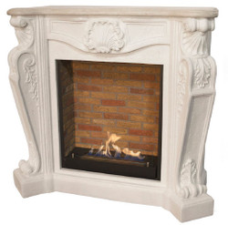 Casa Padrino Art Nouveau Fireplace with Bio Burner White 127.5 x 48.5 x H. 111 cm - Splendid Bioethanol Fireplace with Noble Ornaments and Stone Decor - Luxury Quality