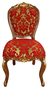 Casa Padrino Luxury Baroque Dining Chair Red / Gold / Brown Antique Look 54 x 57 x H. 107 cm - Luxury Hotel Furniture - Made in Italy