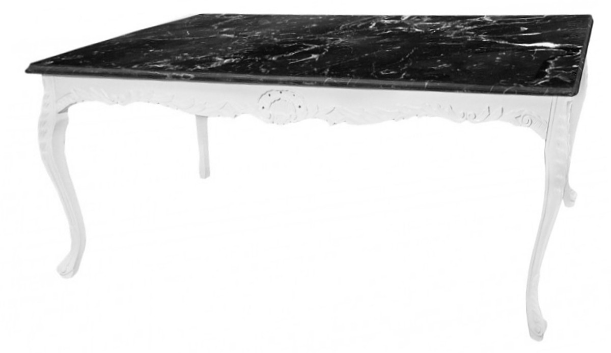 Casa Padrino Baroque Dining Table White With Black Marble Top Table Marble Furniture