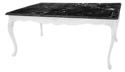 Casa Padrino Baroque dining table white with black marble top - table marble - furniture