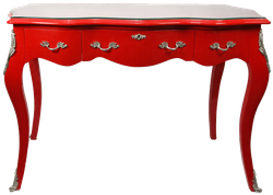 Casa Padrino Baroque Desk Secretary / Console Red with glass top 120 x 60 x H80 cm - Baroque furniture