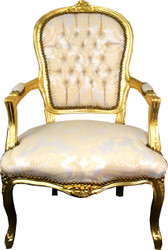 Casa Padrino Baroque Salon Chair Cream Pattern / Gold - Antique Look Furniture
