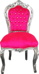 Casa Padrino Baroque Dining Chair Pink / Silver with Bling Bling Rhinestones - Furniture Baroque Chairs