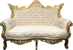 Casa Padrino Baroque 2 seater sofa cream pattern / gold - antique style living room furniture