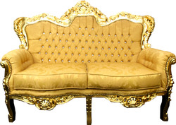 Casa Padrino Baroque 2 seater sofa Gold Pattern / Gold with Bling Bling rhinestones - Antique style living room furniture