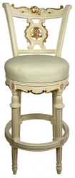 Casa Padrino Baroque Bar Chair Cream / Gold / Pink H. 130 cm - Swivel Solid Wood Bar Stool with Faux Leather - Baroque Bar Furniture