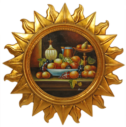 Casa Padrino baroque wall picture sun with fruits gold / multicolor Ø 88 cm - Wall Decoration - Baroque Decoration Accessories