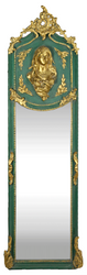 Casa Padrino Luxury Baroque Wall Mirror Madonna Green / Gold 55 x H. 175 cm - Solid and Heavy - Antique Style Mirror