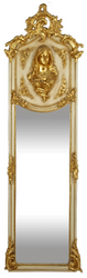 Casa Padrino Luxury Baroque Wall Mirror Madonna Cream / Gold 55 x H. 175 cm - Solid and Heavy - Antique Style Mirror