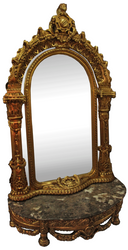 Casa Padrino baroque mirror console with marble top gold / black 145 x 55 x H. 250 cm - Baroque Style Wardrobe Furniture - Noble & Sumptuous
