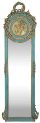 Casa Padrino Baroque Mirror Turquoise / Antique Gold 55 x H. 175 cm - Solid and Heavy - Antique Style Wall Mirror