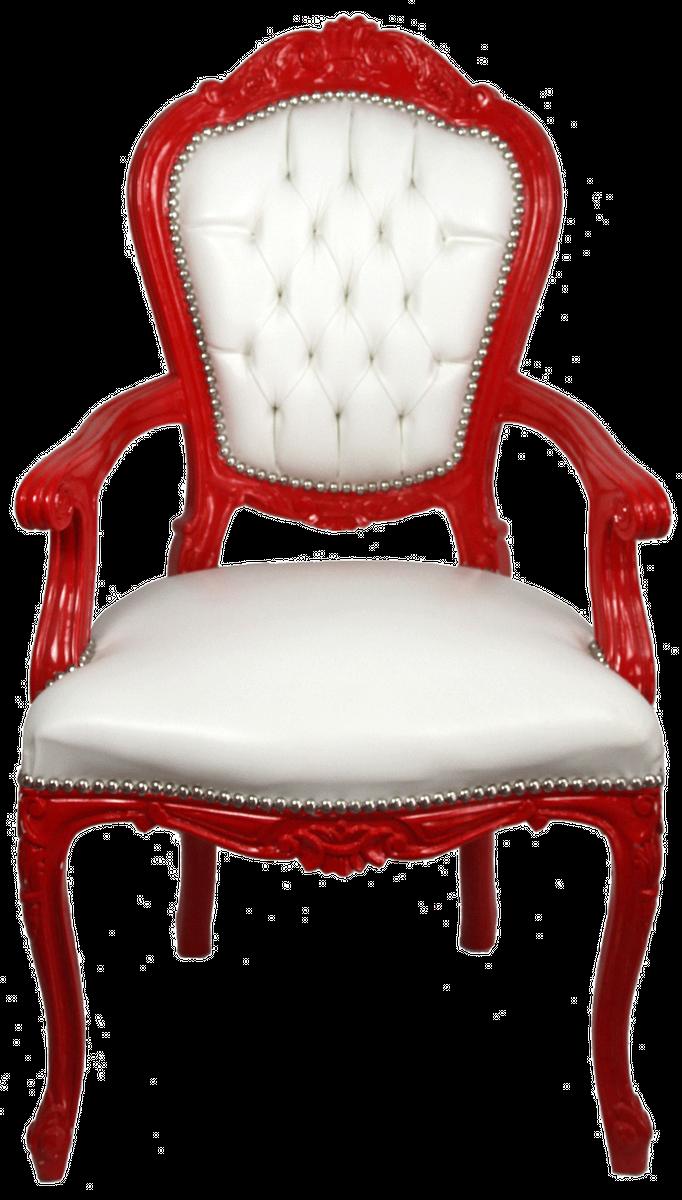 Casa Padrino Luxus Barock Esszimmer Stuhl mit Armlehnen Weiß / Rot -  Handgefertigter Küchen Stuhl mit edlem Kunstleder - Barock Esszimmer Möbel
