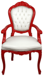 Casa Padrino Luxury Baroque Dining Chair with Armrests White / Red - Handmade Kitchen Chair with Fine Faux Leather - Baroque Dining Room Furniture
