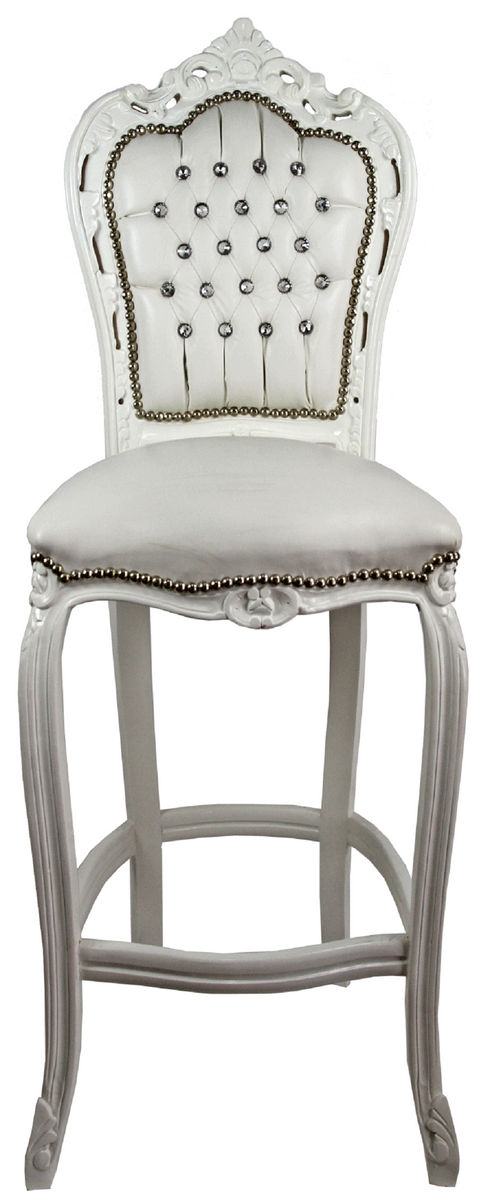 Groovy Casa Padrino Baroque Bar Chair With Faux Leather And Rhinestones Cream White 60 X 55 X H 146 Cm Handmade Highchair Bar Stool Baroque Bar Gamerscity Chair Design For Home Gamerscityorg