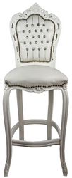Casa Padrino baroque bar chair with faux leather and rhinestones cream / white 60 x 55 x H. 146 cm - Handmade Highchair - Bar Stool - Baroque Bar Furniture