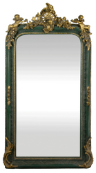 Casa Padrino baroque wall mirror green / antique gold 85 x H. 160 cm - Magnificent Baroque Mirror with Beautiful Decorations and Decorative Angel Figures